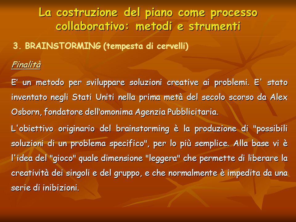 La costruzione del piano come processo collaborativo: metodi e strumenti Finalità E un metodo per sviluppare soluzioni creative ai problemi. E' stato