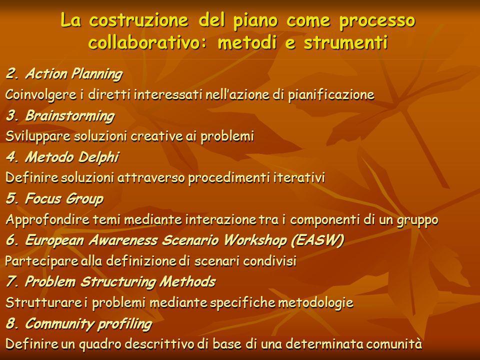La costruzione del piano come processo collaborativo: metodi e strumenti 2. Action Planning Coinvolgere i diretti interessati nellazione di pianificaz