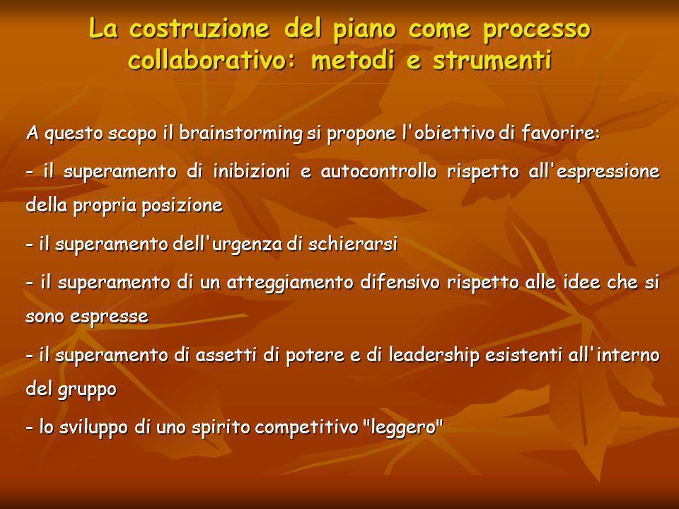 La costruzione del piano come processo collaborativo: metodi e strumenti A questo scopo il brainstorming si propone l'obiettivo di favorire: - il supe