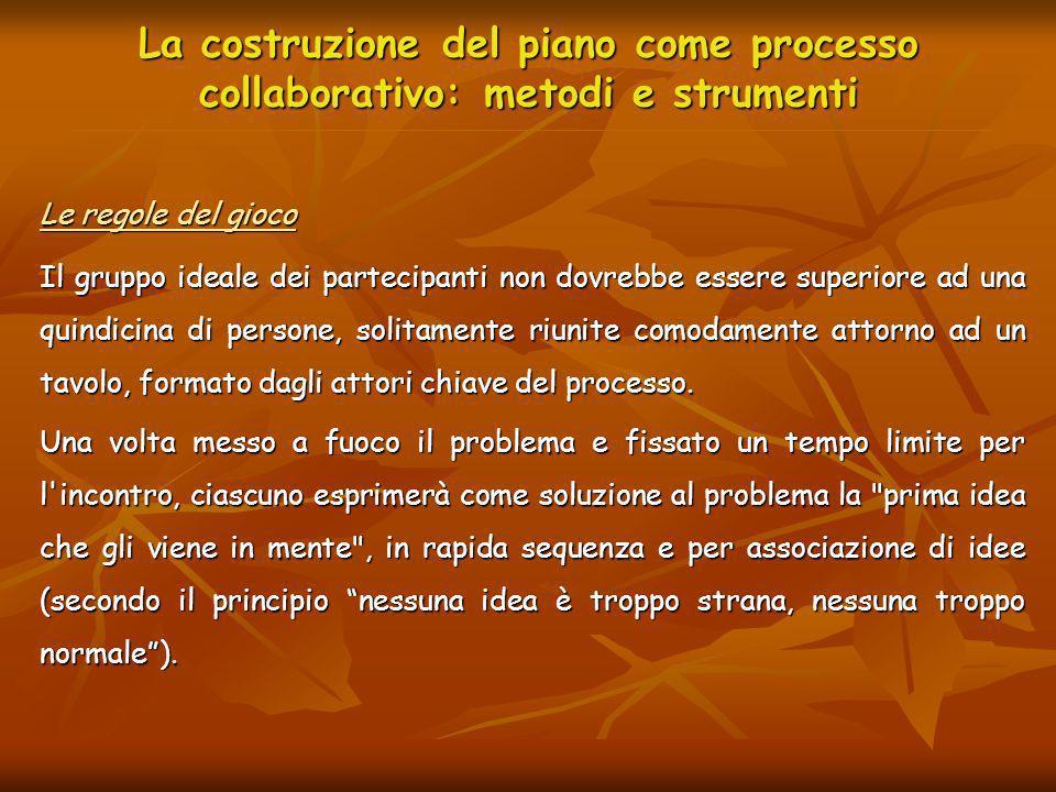 La costruzione del piano come processo collaborativo: metodi e strumenti Le regole del gioco Il gruppo ideale dei partecipanti non dovrebbe essere sup