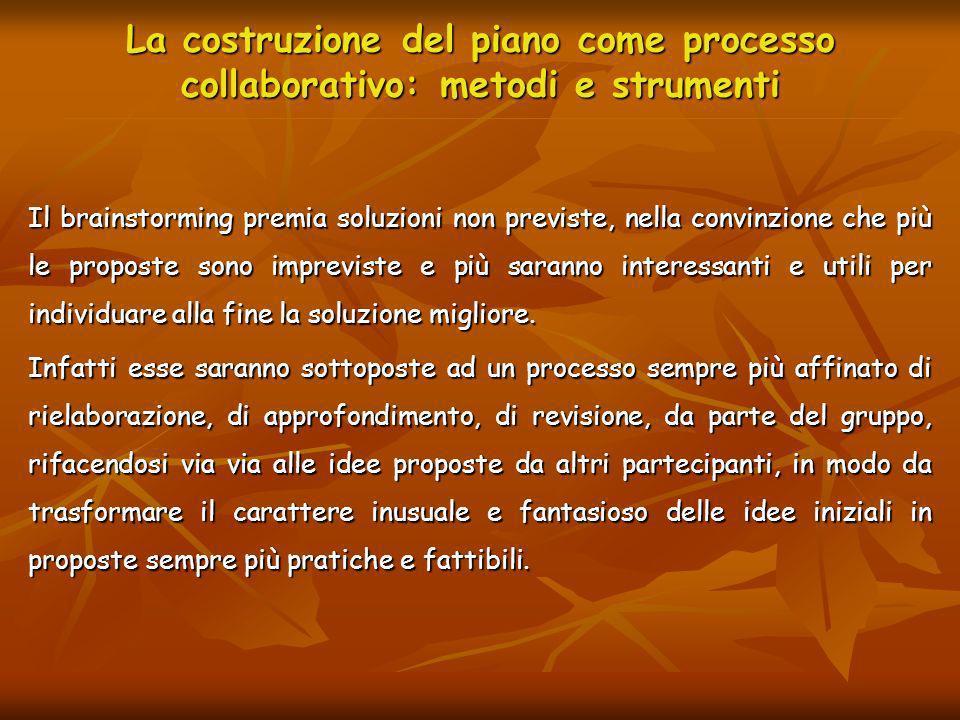 La costruzione del piano come processo collaborativo: metodi e strumenti Il brainstorming premia soluzioni non previste, nella convinzione che più le