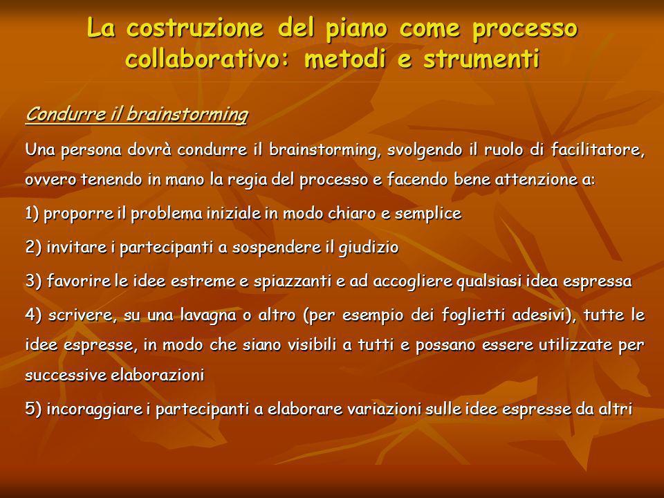 La costruzione del piano come processo collaborativo: metodi e strumenti Condurre il brainstorming Una persona dovrà condurre il brainstorming, svolge