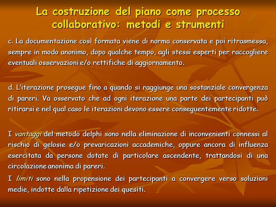 La costruzione del piano come processo collaborativo: metodi e strumenti c. La documentazione così formata viene di norma conservata e poi ritrasmessa