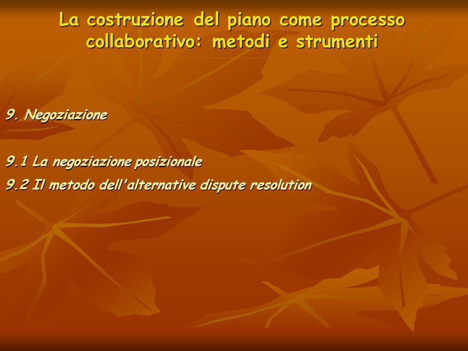 La costruzione del piano come processo collaborativo: metodi e strumenti 9. Negoziazione 9.1 La negoziazione posizionale 9.2 Il metodo dell'alternativ