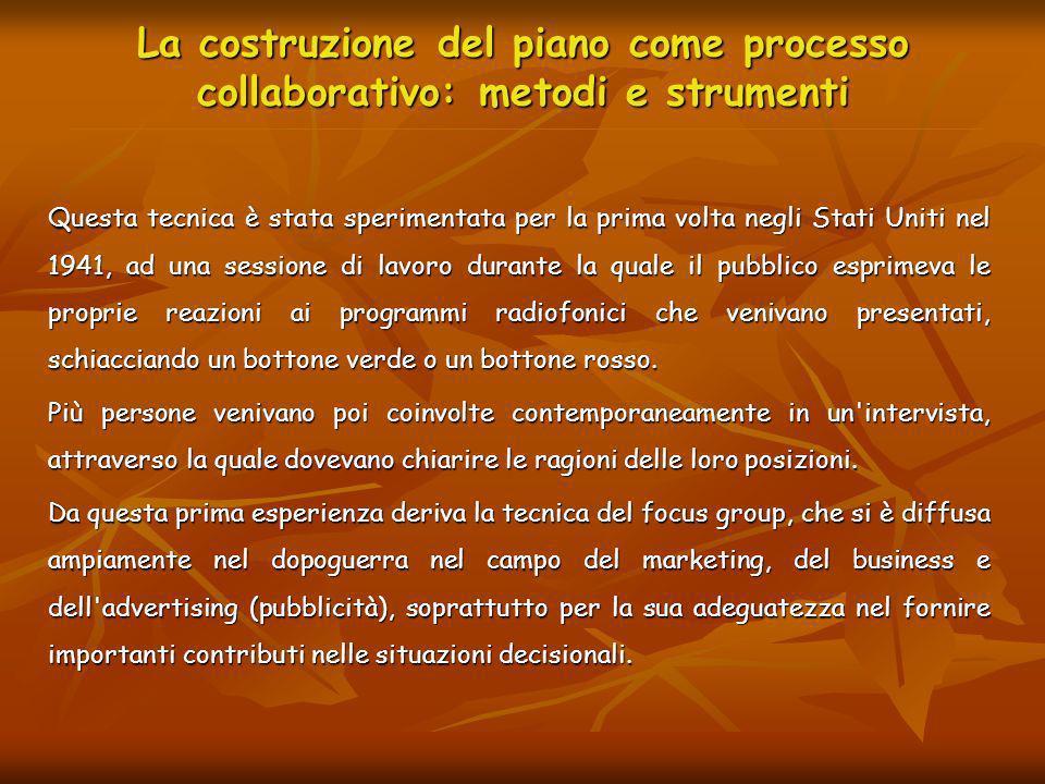 La costruzione del piano come processo collaborativo: metodi e strumenti Linterazione tra i partecipanti.