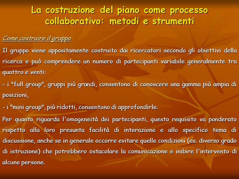 La costruzione del piano come processo collaborativo: metodi e strumenti Come costruire il gruppo Il gruppo viene appositamente costruito dai ricercat