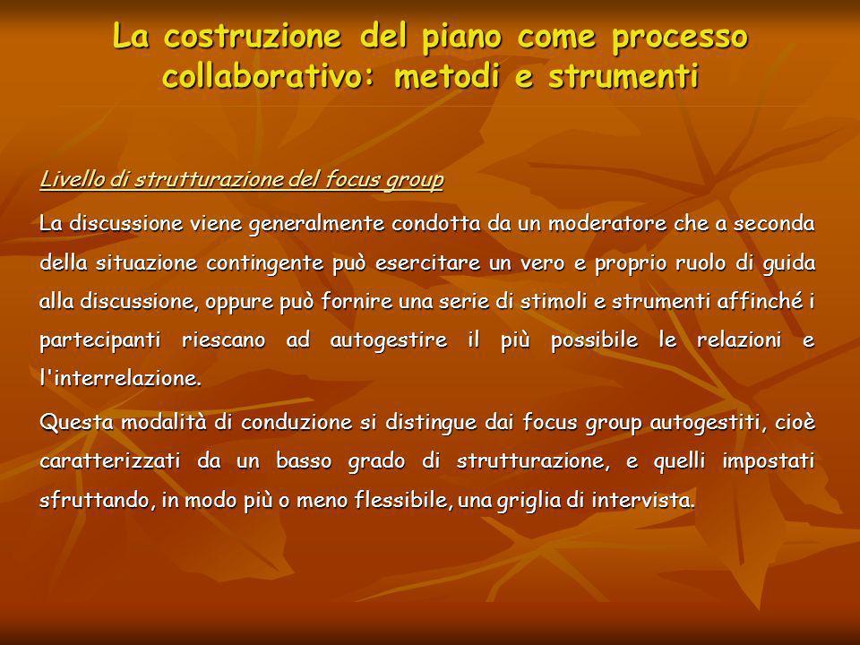 La costruzione del piano come processo collaborativo: metodi e strumenti Livello di strutturazione del focus group La discussione viene generalmente c