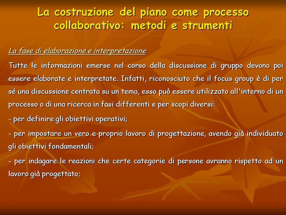 La costruzione del piano come processo collaborativo: metodi e strumenti La fase di elaborazione e interpretazione Tutte le informazioni emerse nel co
