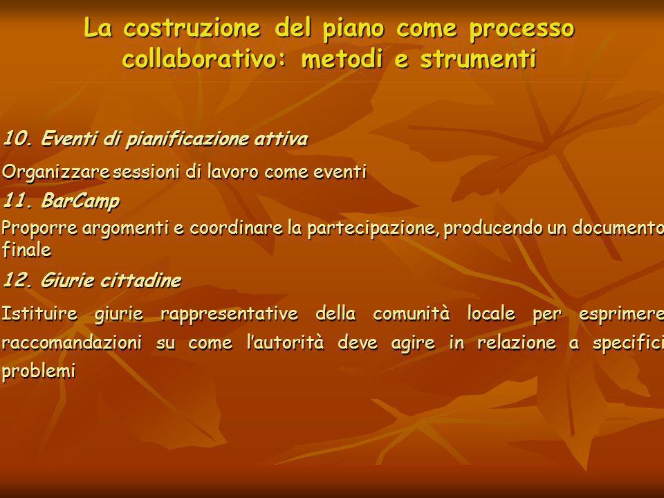 La costruzione del piano come processo collaborativo: metodi e strumenti 10. Eventi di pianificazione attiva Organizzare sessioni di lavoro come event