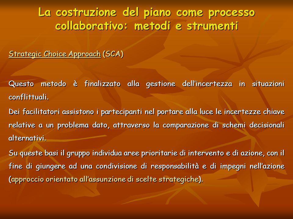 La costruzione del piano come processo collaborativo: metodi e strumenti Strategic Choice Approach (SCA) Questo metodo è finalizzato alla gestione del