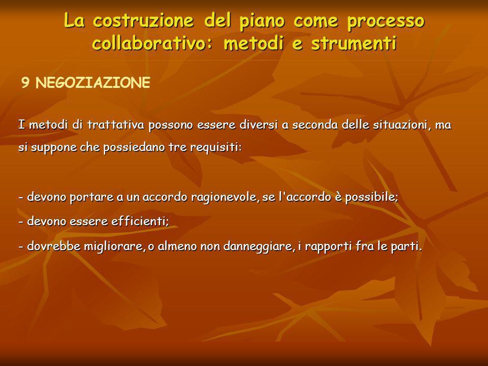 La costruzione del piano come processo collaborativo: metodi e strumenti 9.1 LA NEGOZIAZIONE POSIZIONALE Una delle possibilità è quella di instaurare una negoziazione posizionale, cioè una trattativa in cui ciascuna delle parti prende una posizione, la difende e fa concessioni per raggiungere un compromesso.