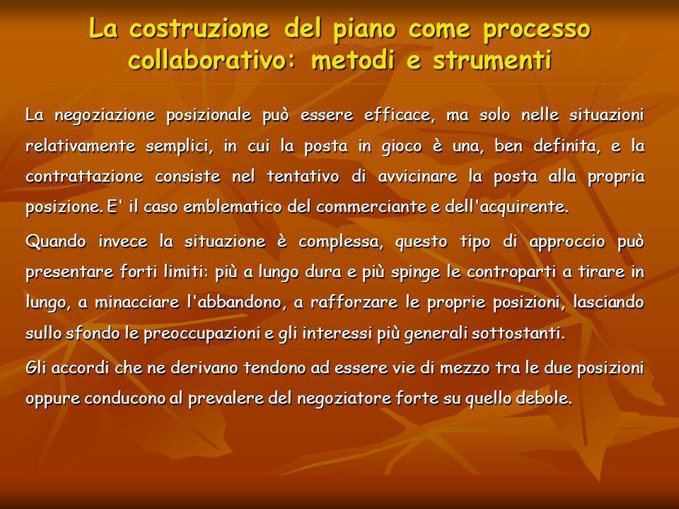 La costruzione del piano come processo collaborativo: metodi e strumenti La negoziazione posizionale può essere efficace, ma solo nelle situazioni rel