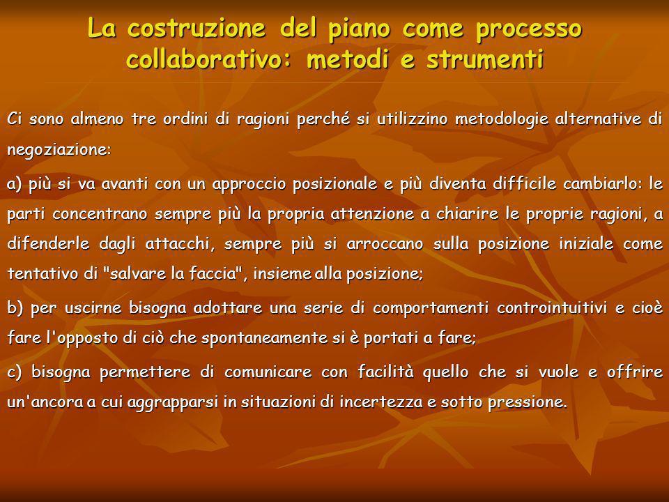 La costruzione del piano come processo collaborativo: metodi e strumenti Ci sono almeno tre ordini di ragioni perché si utilizzino metodologie alterna