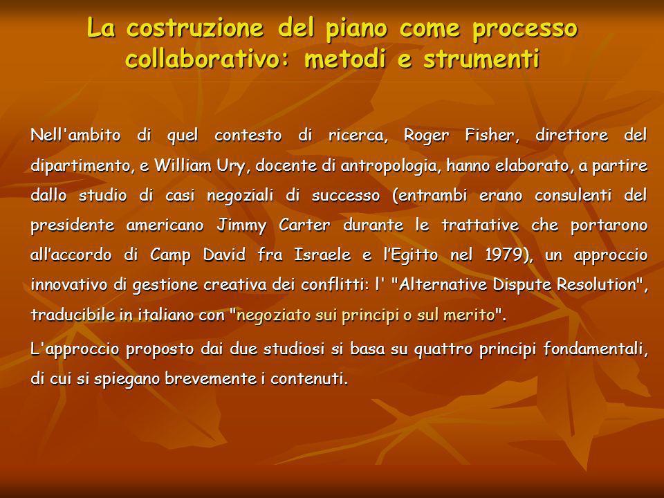 La costruzione del piano come processo collaborativo: metodi e strumenti Nell'ambito di quel contesto di ricerca, Roger Fisher, direttore del dipartim