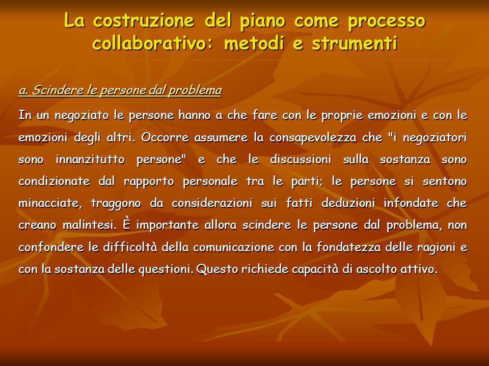 La costruzione del piano come processo collaborativo: metodi e strumenti a. Scindere le persone dal problema In un negoziato le persone hanno a che fa