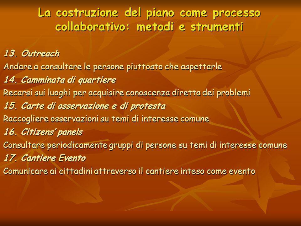 La costruzione del piano come processo collaborativo: metodi e strumenti 13. Outreach Andare a consultare le persone piuttosto che aspettarle 14. Camm