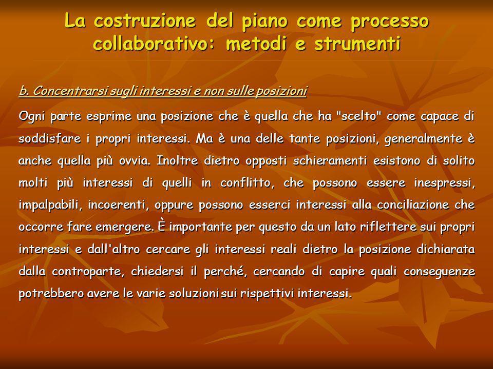 La costruzione del piano come processo collaborativo: metodi e strumenti b. Concentrarsi sugli interessi e non sulle posizioni Ogni parte esprime una