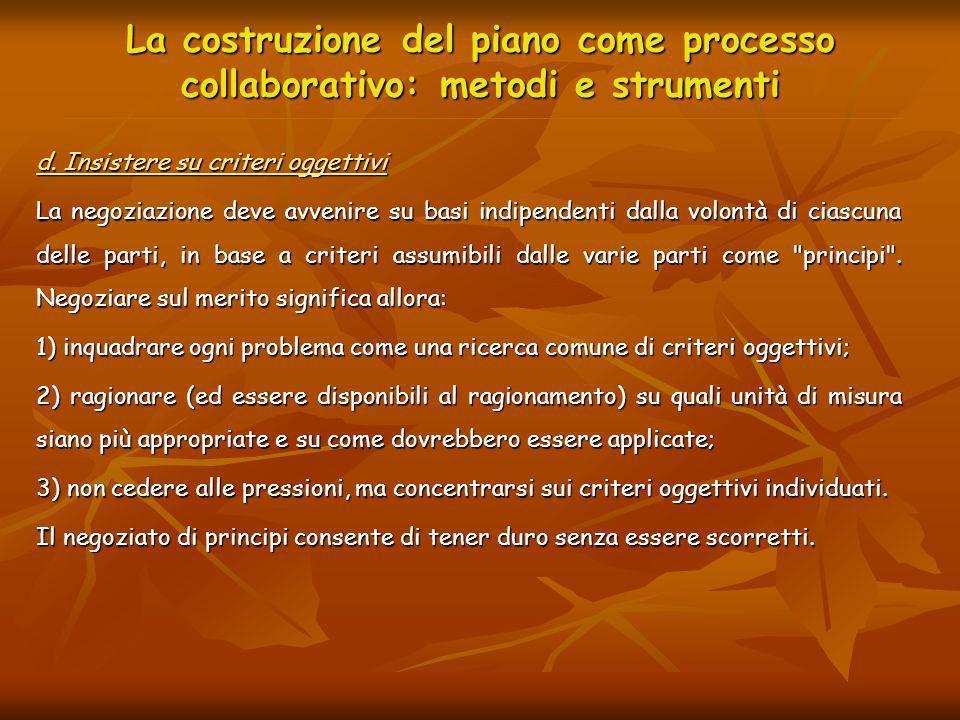 La costruzione del piano come processo collaborativo: metodi e strumenti d. Insistere su criteri oggettivi La negoziazione deve avvenire su basi indip