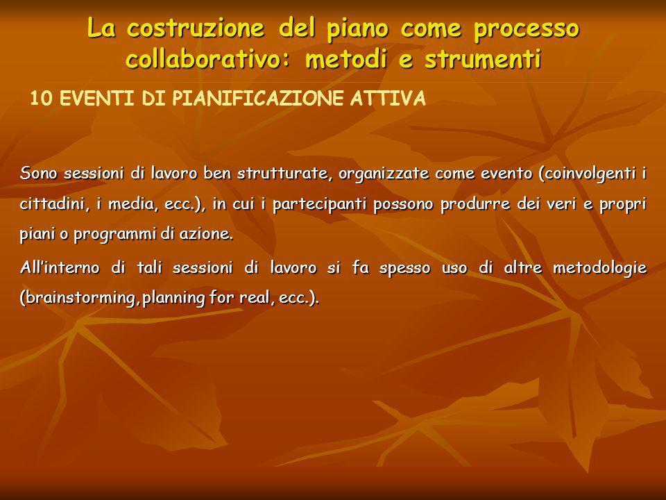 La costruzione del piano come processo collaborativo: metodi e strumenti Sono sessioni di lavoro ben strutturate, organizzate come evento (coinvolgent