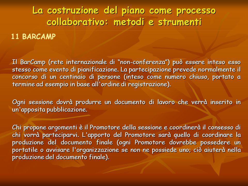 La costruzione del piano come processo collaborativo: metodi e strumenti Il BarCamp (rete internazionale di non-conferenza) può essere inteso esso ste