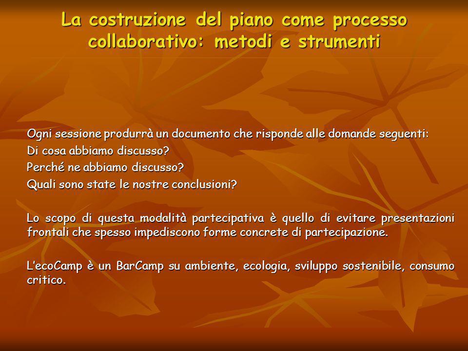 La costruzione del piano come processo collaborativo: metodi e strumenti Ogni sessione produrrà un documento che risponde alle domande seguenti: Di co