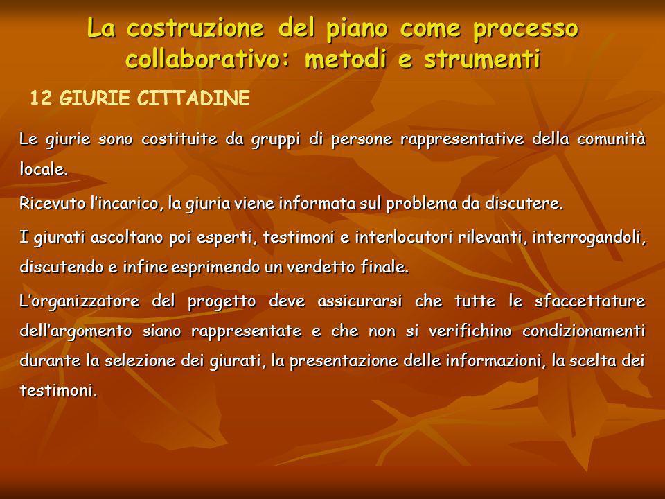 La costruzione del piano come processo collaborativo: metodi e strumenti Coinvolgono di solito da 10 a 25 partecipanti, selezionati in modo da essere rappresentativi della popolazione interessata.