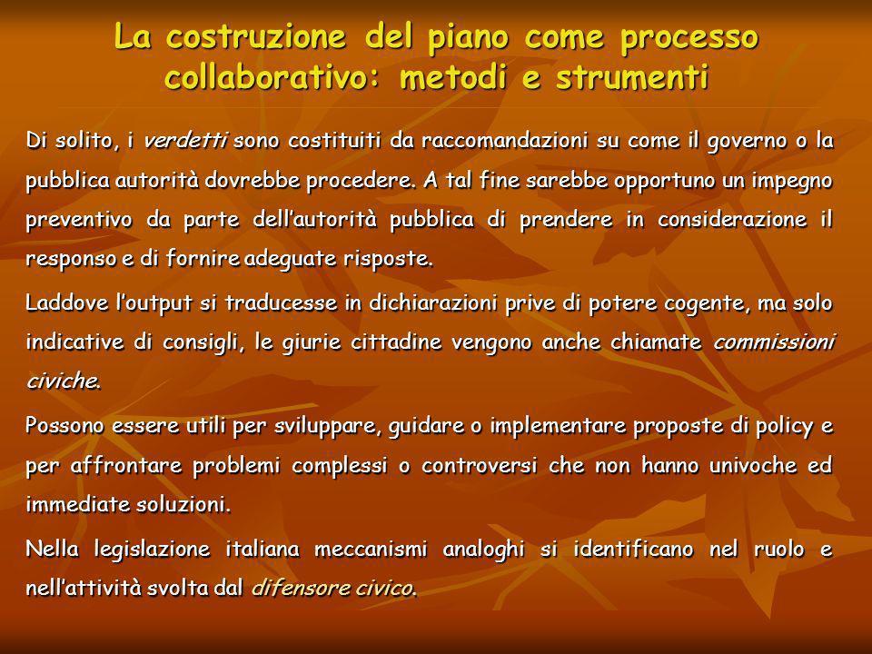 La costruzione del piano come processo collaborativo: metodi e strumenti Di solito, i verdetti sono costituiti da raccomandazioni su come il governo o