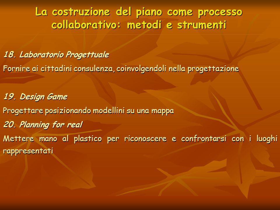 La costruzione del piano come processo collaborativo: metodi e strumenti 18. Laboratorio Progettuale Fornire ai cittadini consulenza, coinvolgendoli n