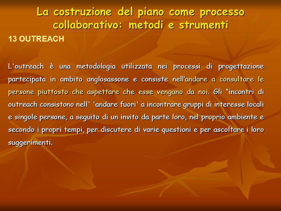 La costruzione del piano come processo collaborativo: metodi e strumenti L'outreach è una metodologia utilizzata nei processi di progettazione parteci