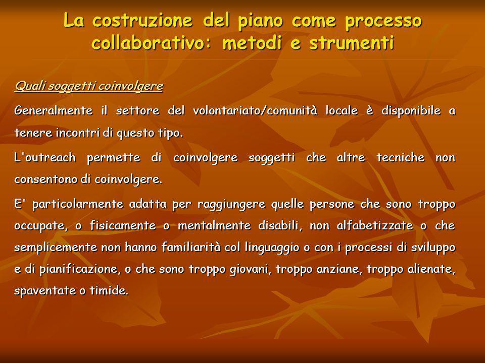 La costruzione del piano come processo collaborativo: metodi e strumenti Quali soggetti coinvolgere Generalmente il settore del volontariato/comunità