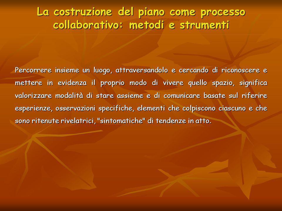 La costruzione del piano come processo collaborativo: metodi e strumenti Percorrere insieme un luogo, attraversandolo e cercando di riconoscere e mett
