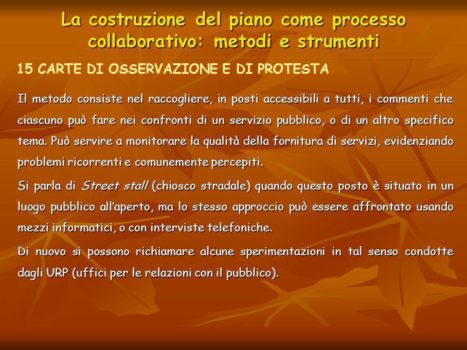 La costruzione del piano come processo collaborativo: metodi e strumenti Il metodo consiste nel raccogliere, in posti accessibili a tutti, i commenti