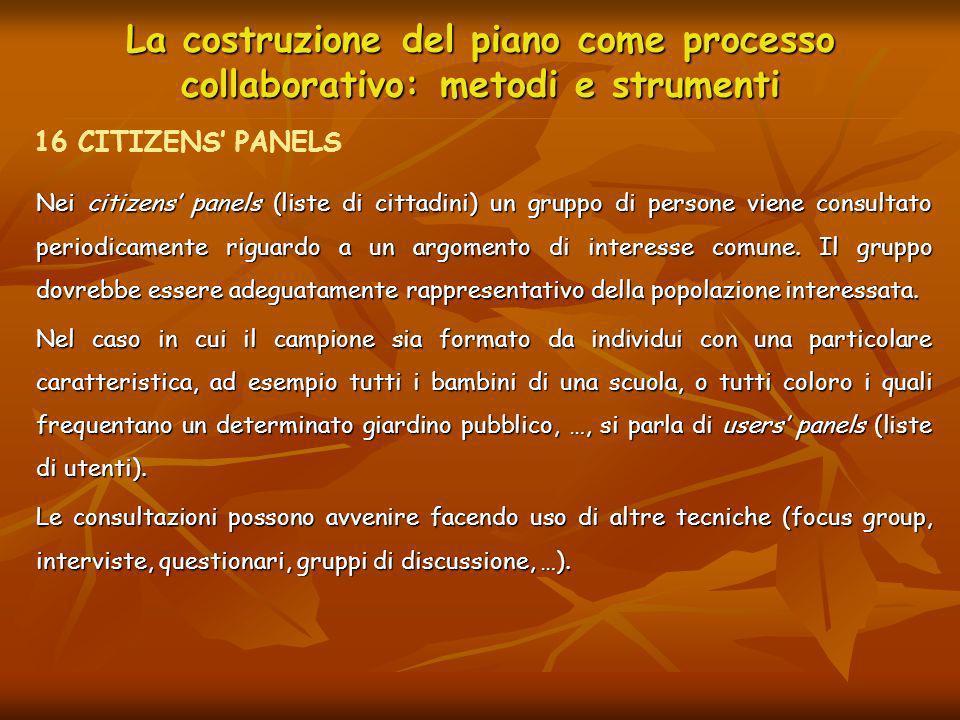 La costruzione del piano come processo collaborativo: metodi e strumenti Nei citizens panels (liste di cittadini) un gruppo di persone viene consultat