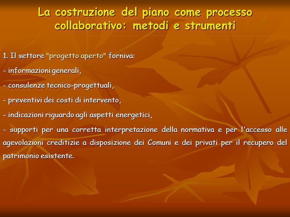 La costruzione del piano come processo collaborativo: metodi e strumenti 1. Il settore