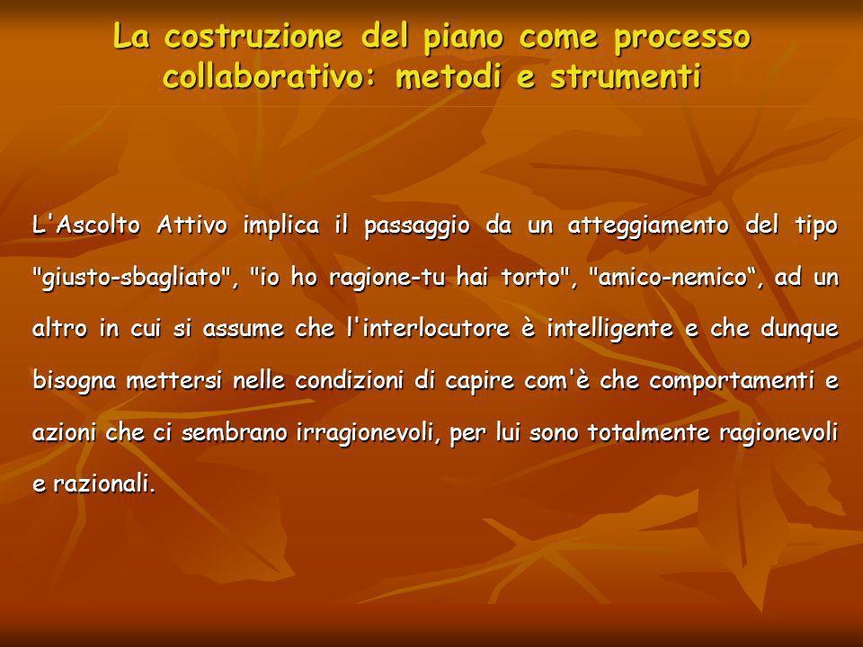 La costruzione del piano come processo collaborativo: metodi e strumenti L'Ascolto Attivo implica il passaggio da un atteggiamento del tipo
