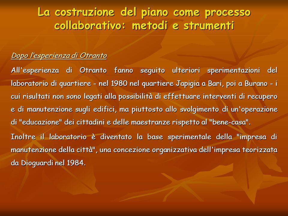 La costruzione del piano come processo collaborativo: metodi e strumenti Dopo lesperienza di Otranto All'esperienza di Otranto fanno seguito ulteriori