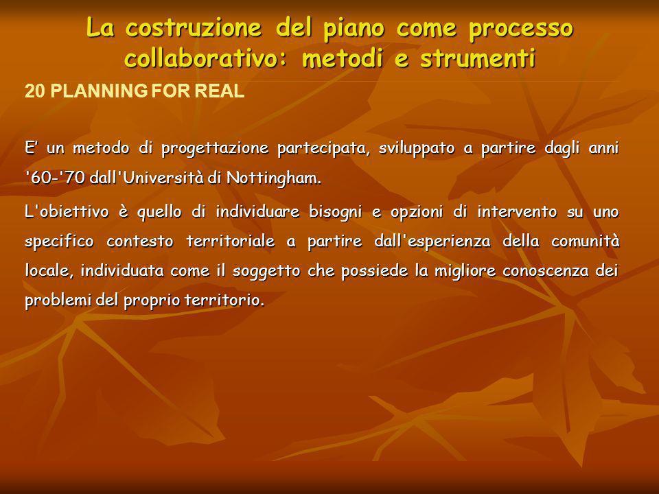 La costruzione del piano come processo collaborativo: metodi e strumenti E un metodo di progettazione partecipata, sviluppato a partire dagli anni '60