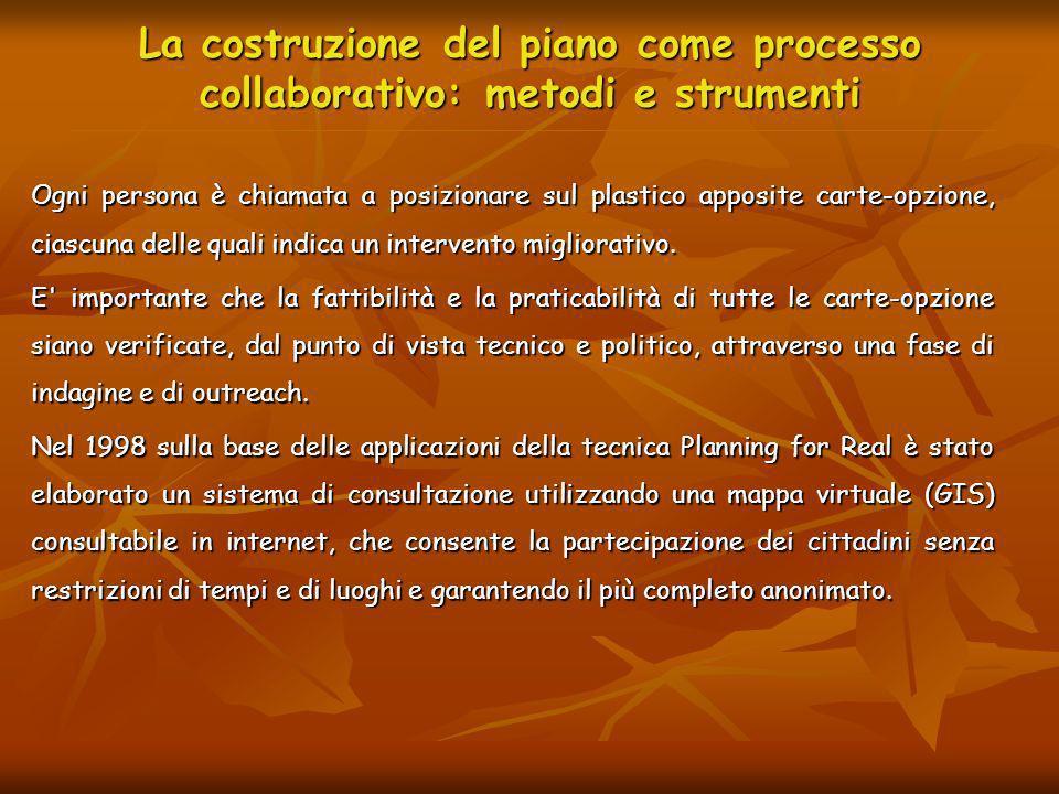 La costruzione del piano come processo collaborativo: metodi e strumenti Ogni persona è chiamata a posizionare sul plastico apposite carte-opzione, ci