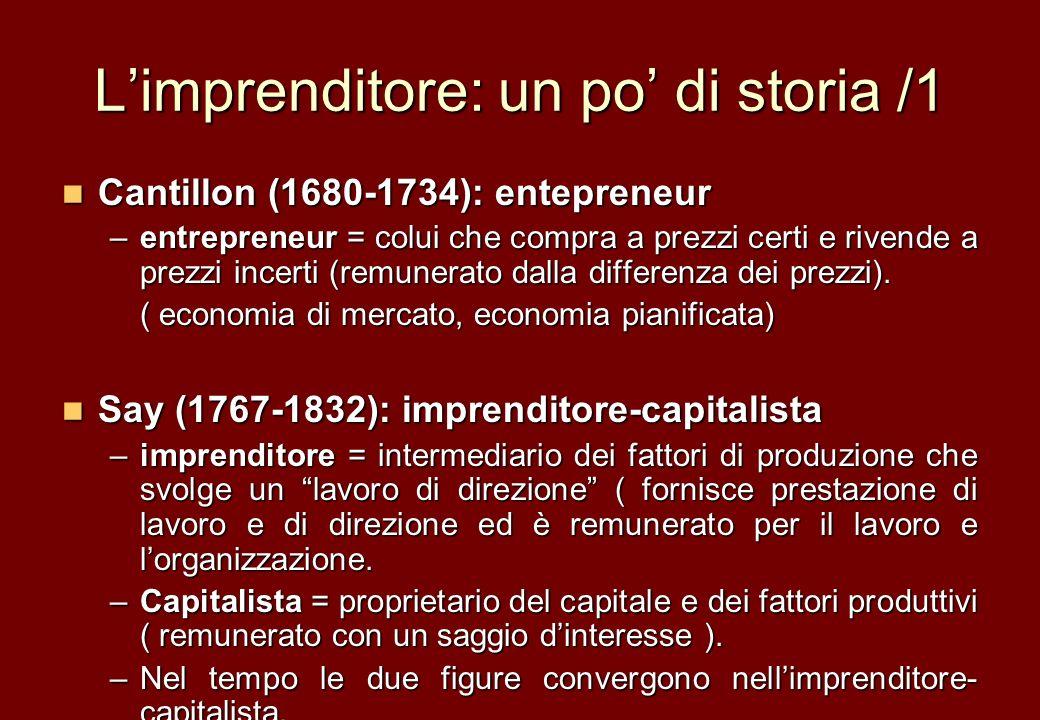 Limprenditore: un po di storia /1 Cantillon (1680-1734): entepreneur Cantillon (1680-1734): entepreneur –entrepreneur = colui che compra a prezzi cert
