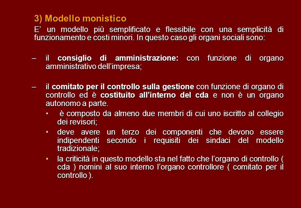 3) Modello monistico E un modello più semplificato e flessibile con una semplicità di funzionamento e costi minori. In questo caso gli organi sociali