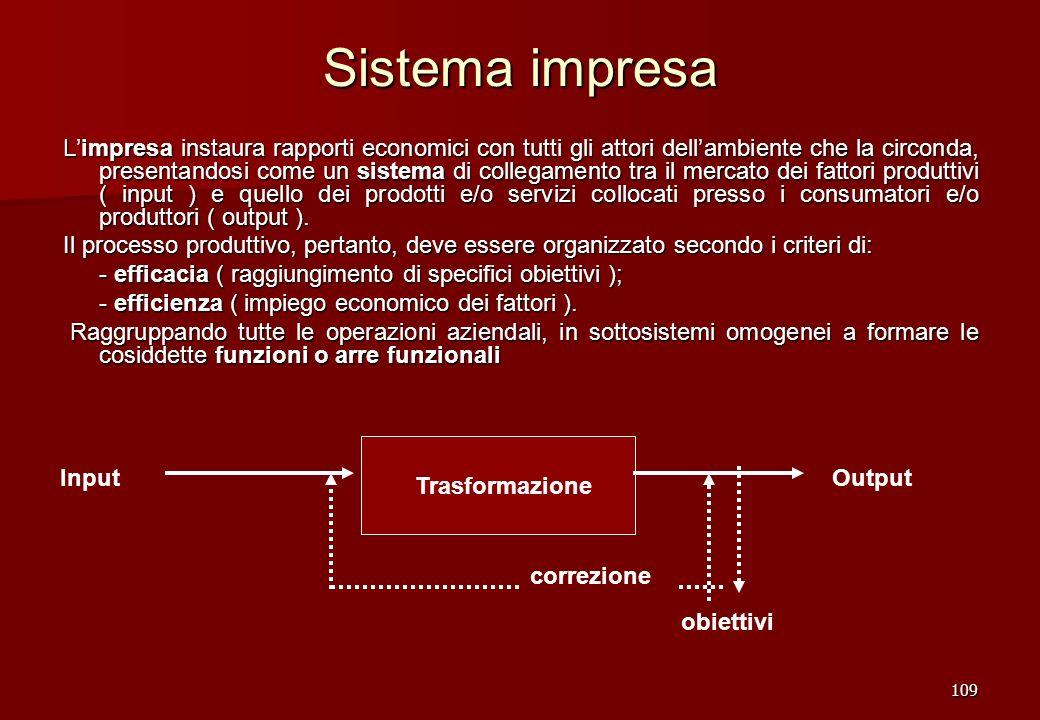 109 Sistema impresa Limpresa instaura rapporti economici con tutti gli attori dellambiente che la circonda, presentandosi come un sistema di collegame