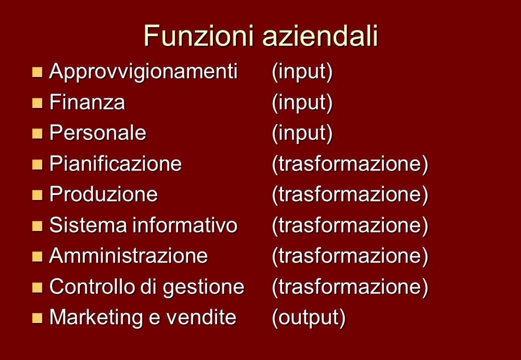 Funzioni aziendali Approvvigionamenti(input) Approvvigionamenti(input) Finanza(input) Finanza(input) Personale(input) Personale(input) Pianificazione(