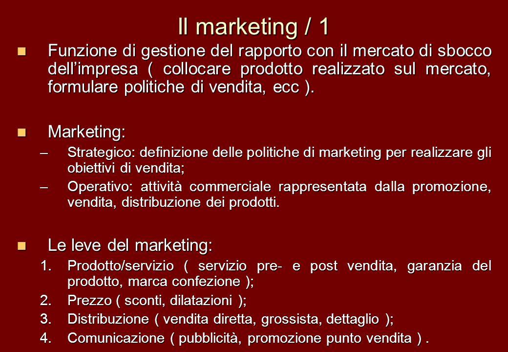 Il marketing / 1 Funzione di gestione del rapporto con il mercato di sbocco dellimpresa ( collocare prodotto realizzato sul mercato, formulare politic