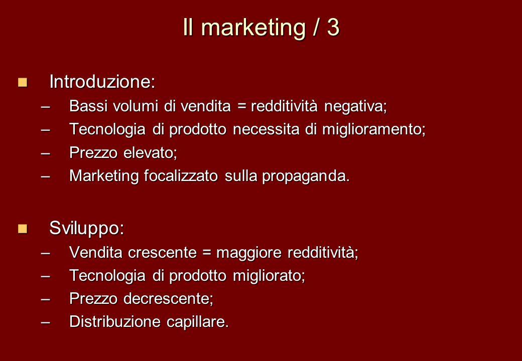 Il marketing / 3 Introduzione: Introduzione: –Bassi volumi di vendita = redditività negativa; –Tecnologia di prodotto necessita di miglioramento; –Pre