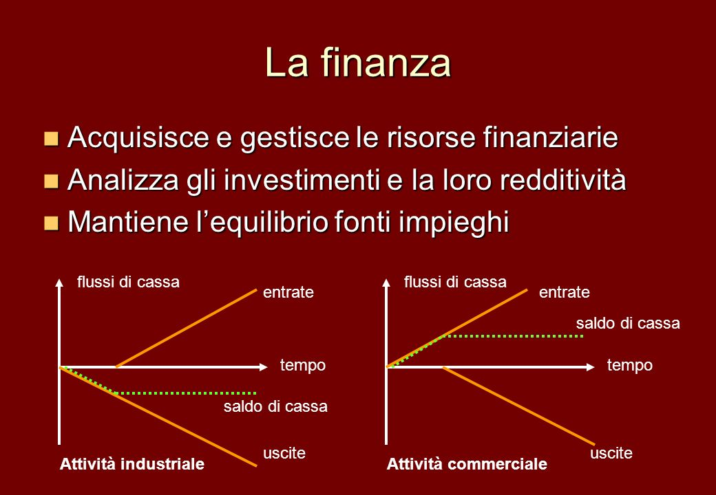 La finanza Acquisisce e gestisce le risorse finanziarie Acquisisce e gestisce le risorse finanziarie Analizza gli investimenti e la loro redditività A