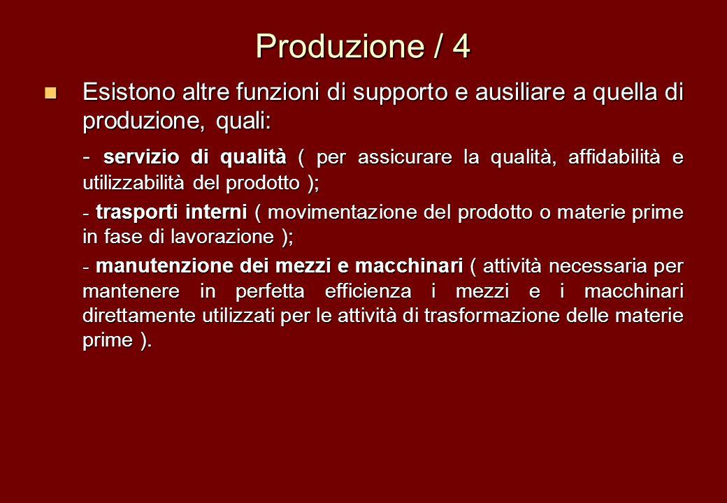 Produzione / 4 Esistono altre funzioni di supporto e ausiliare a quella di produzione, quali: Esistono altre funzioni di supporto e ausiliare a quella