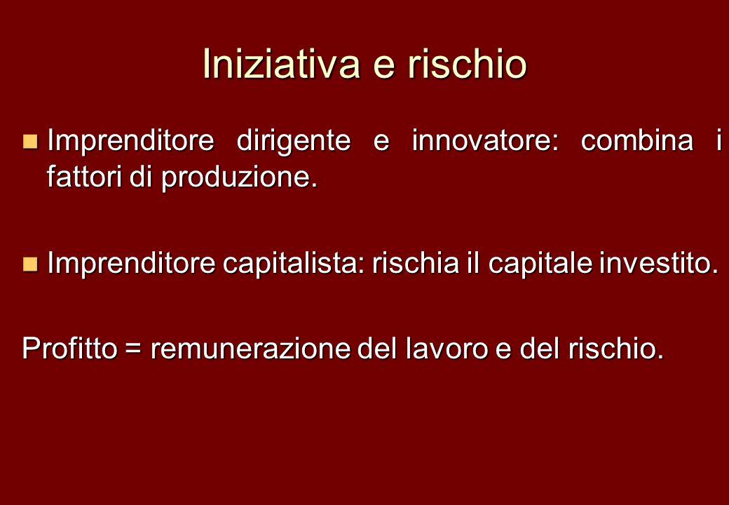 Iniziativa e rischio Imprenditore dirigente e innovatore: combina i fattori di produzione. Imprenditore dirigente e innovatore: combina i fattori di p