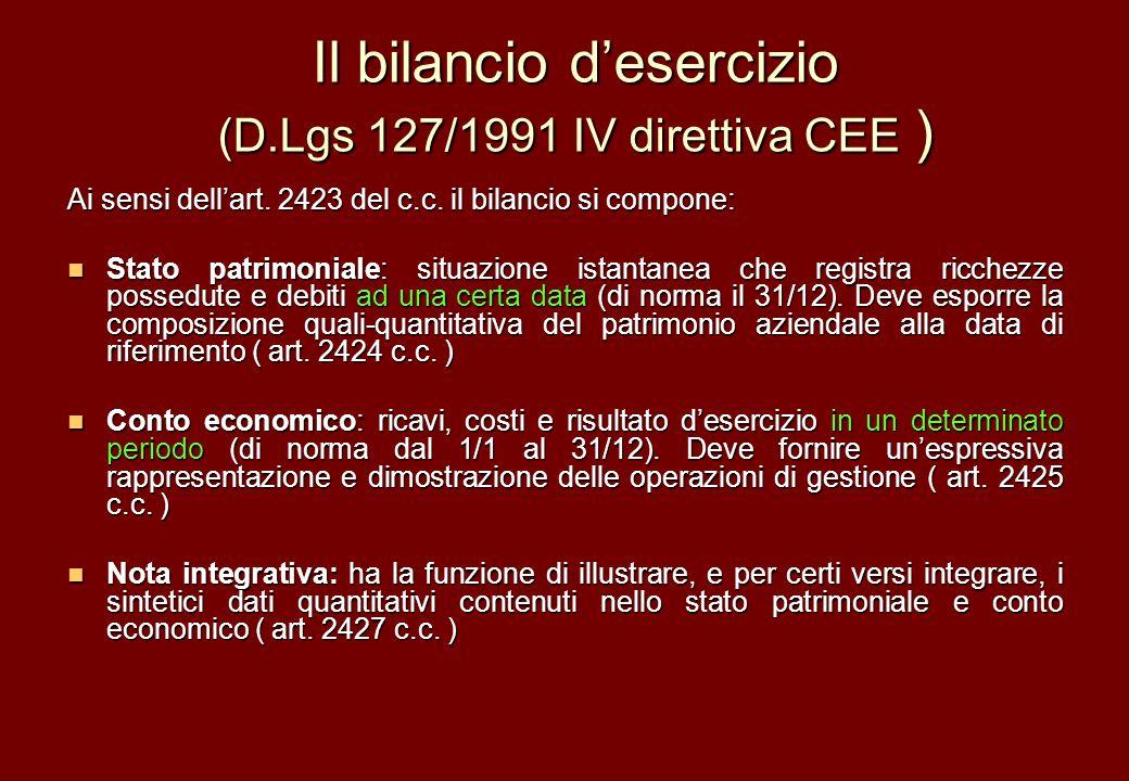 Il bilancio desercizio (D.Lgs 127/1991 IV direttiva CEE ) Ai sensi dellart. 2423 del c.c. il bilancio si compone: Stato patrimoniale: situazione istan