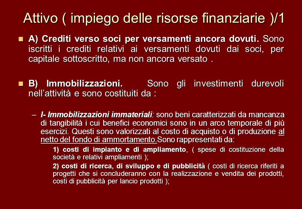Attivo ( impiego delle risorse finanziarie )/1 A) Crediti verso soci per versamenti ancora dovuti. Sono iscritti i crediti relativi ai versamenti dovu