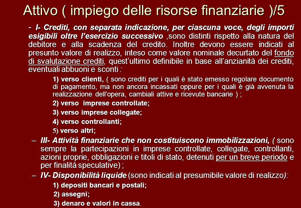 Attivo ( impiego delle risorse finanziarie )/5 - I- Crediti, con separata indicazione, per ciascuna voce, degli importi esigibili oltre lesercizio suc